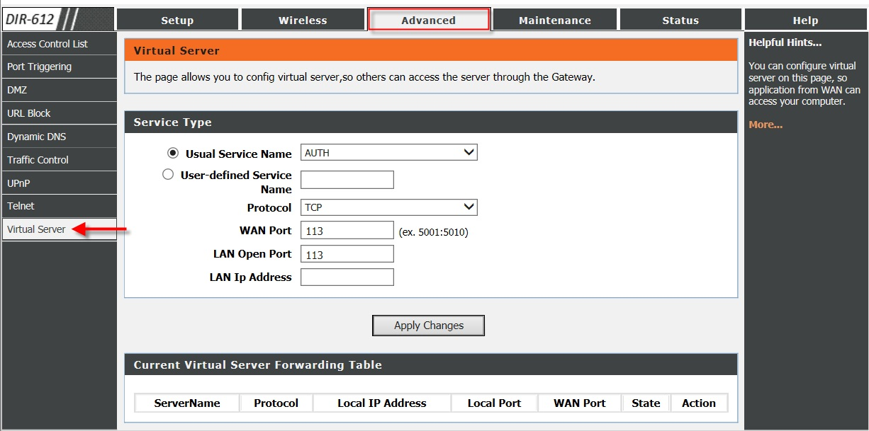 How do I configure Virtual Server (Port Forwarding) of my