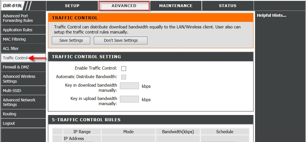 How do I configure the Traffic Control feature on my DIR