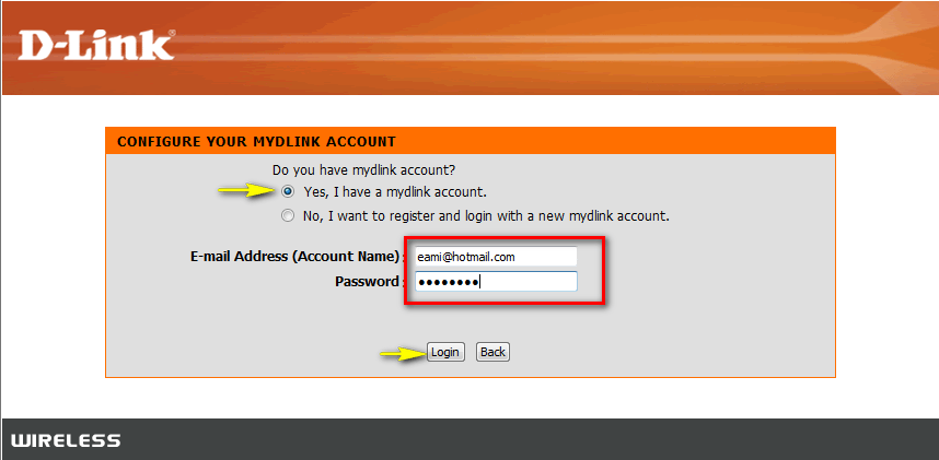 how to create mydlink account